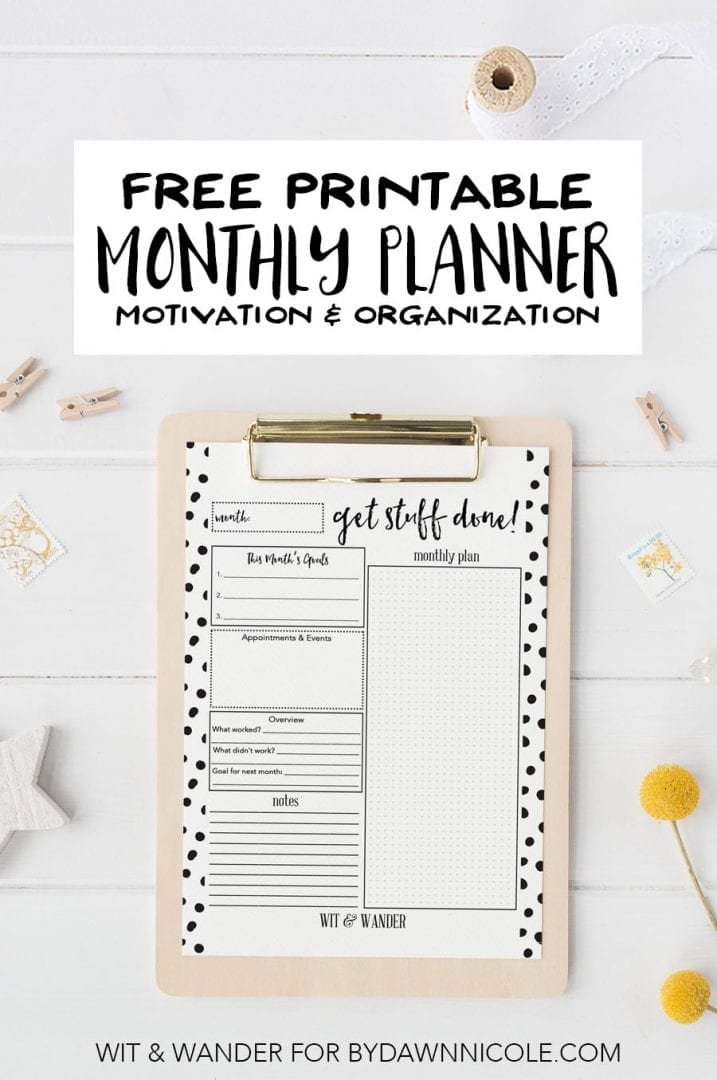 Free Printable Monthly At-A-Glance Planner | Dawn Nicole with regard to How To Design And Print A Planner
