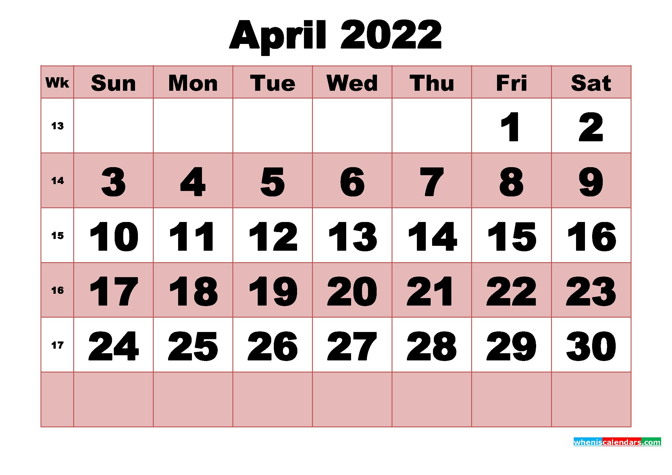 Free Printable Monthly Calendar April 2022 with regard to April 2022 Calendar Printable Images Photo