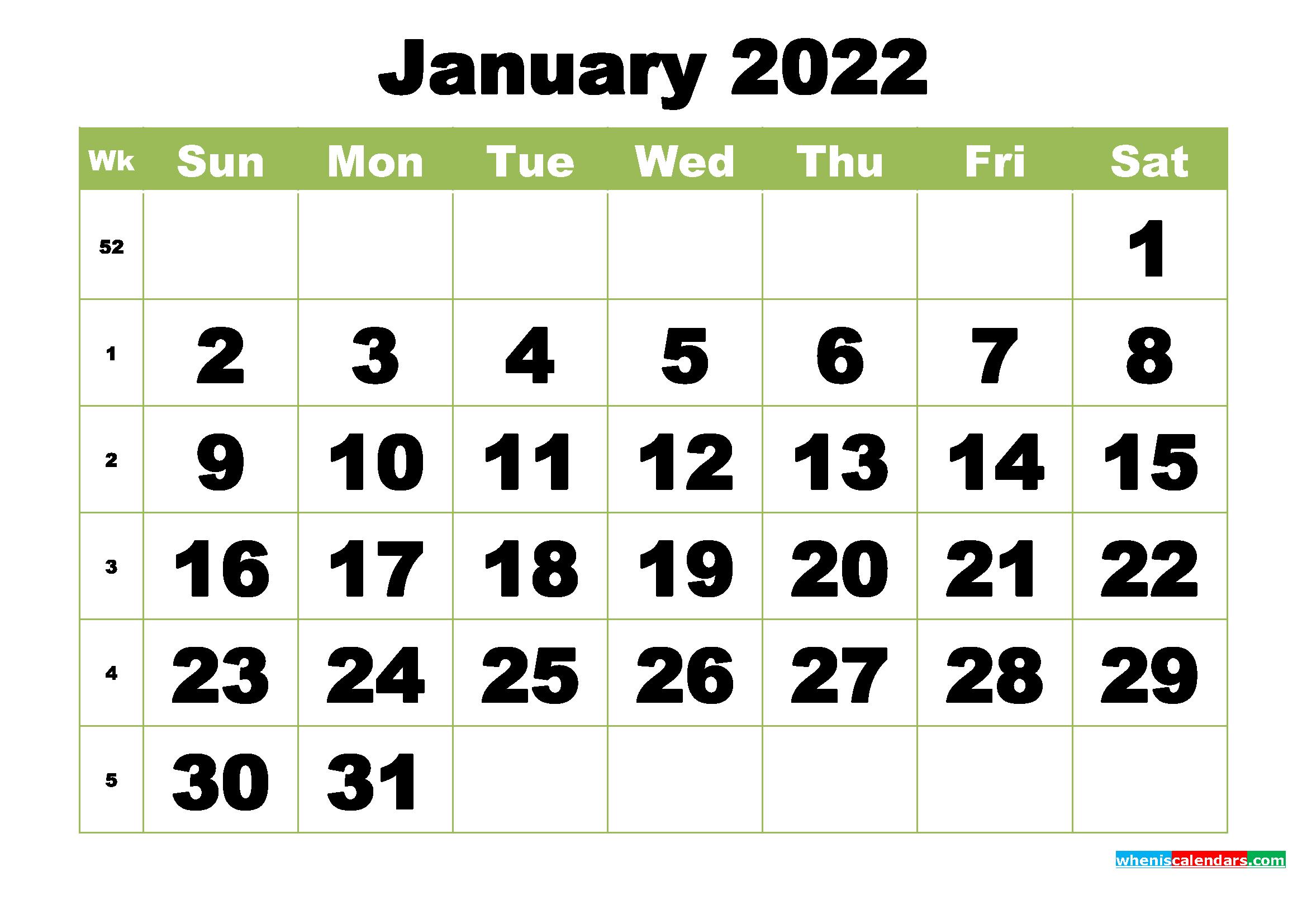 Free Printable Monthly Calendar January 2022 - Free with January 2022 Printable Calendar Photo