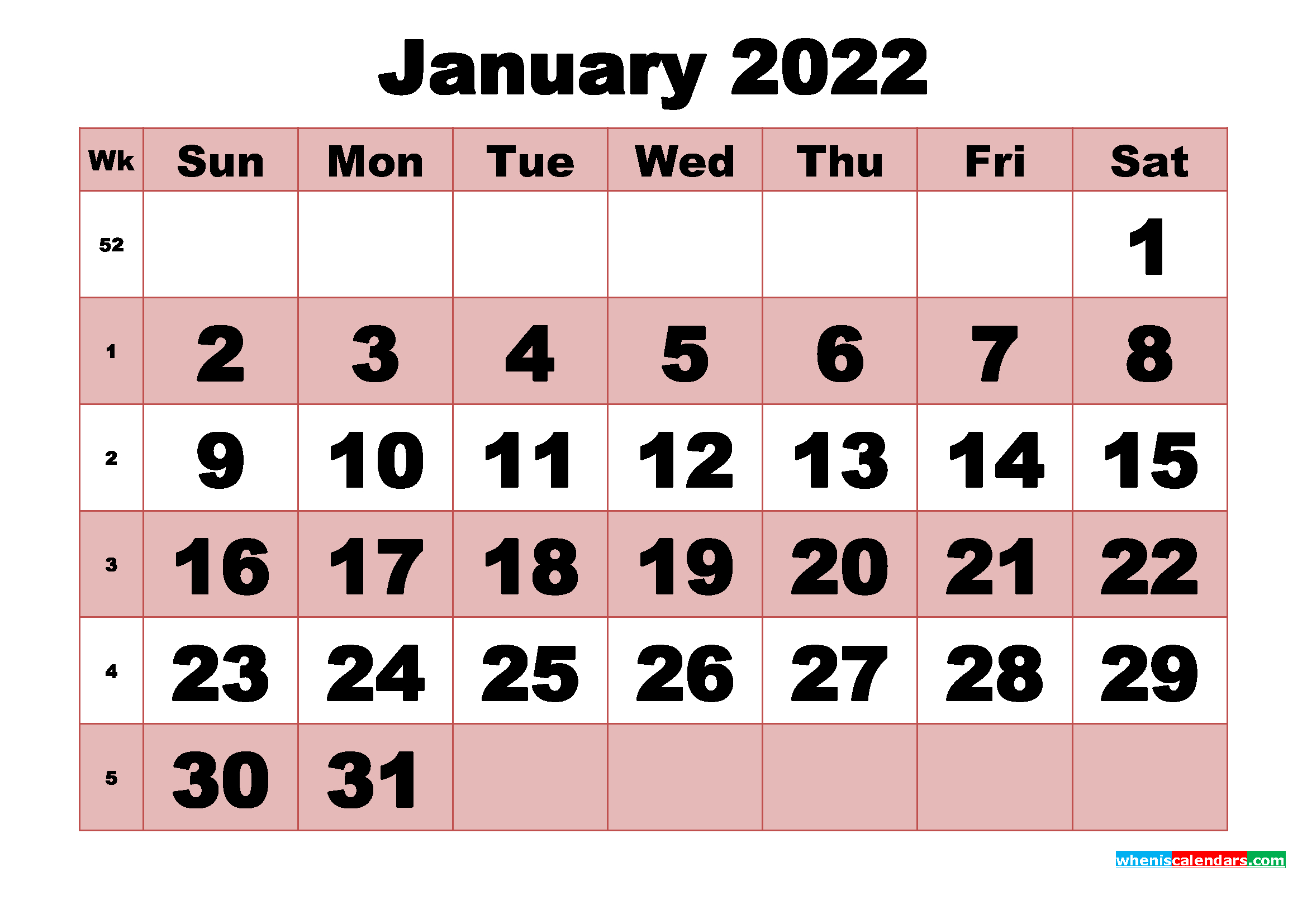 Free Printable Monthly Calendar January 2022 with Printable Calendar Month May 2022