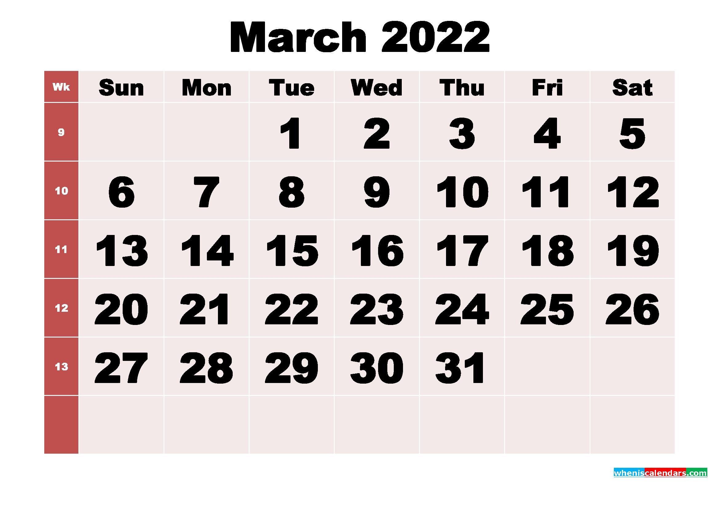 Free Printable Monthly Calendar March 2022 regarding 2022 Weekly Planner Printable Image