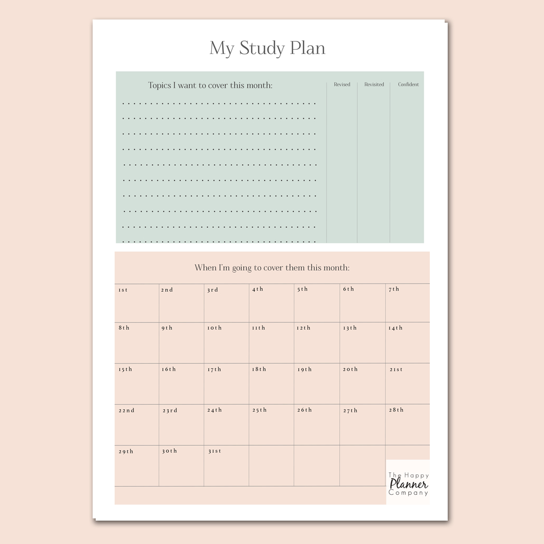 Free Printable - Monthly Study Plan At The Happy Planner within Free Printable Month Banner Happy Planner Graphics