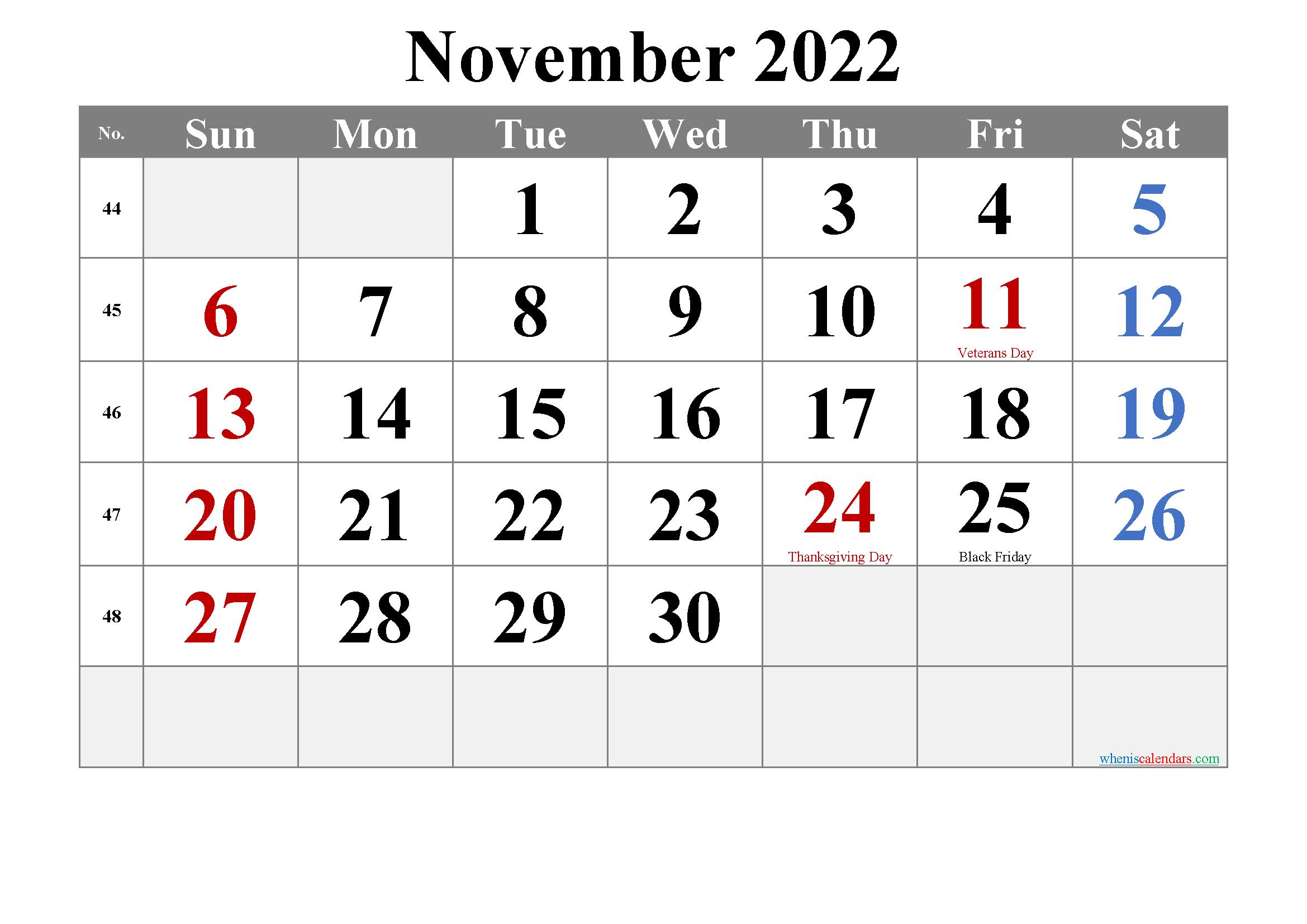 Free Printable November 2022 Calendar With Holidays for November 2022 Calendar Planner Printable