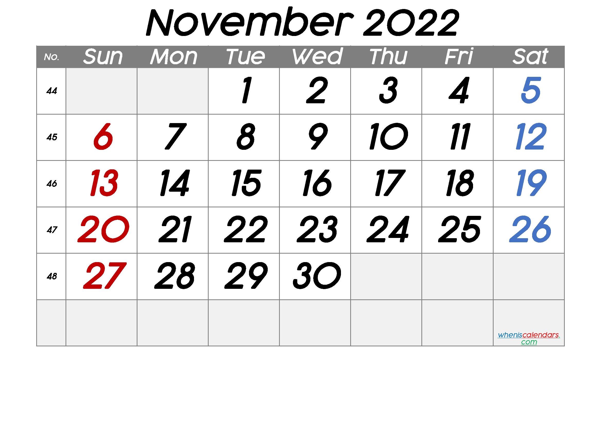 Free Printable November 2022 Calendar With Week Numbers regarding November 2022 Calendar Planner Printable Photo