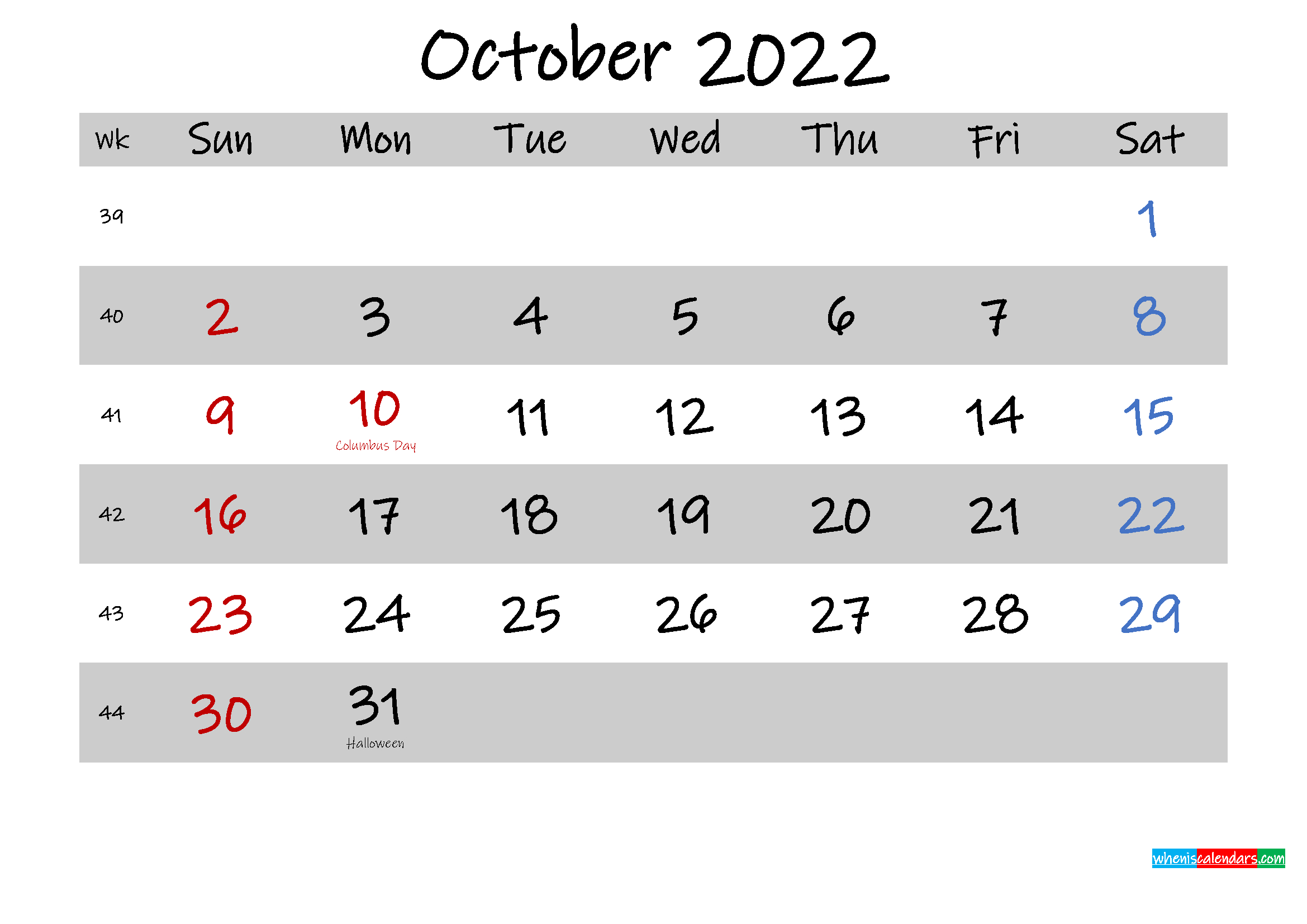 Free Printable October 2022 Calendar - Template No inside October 2022 Planner Calendar