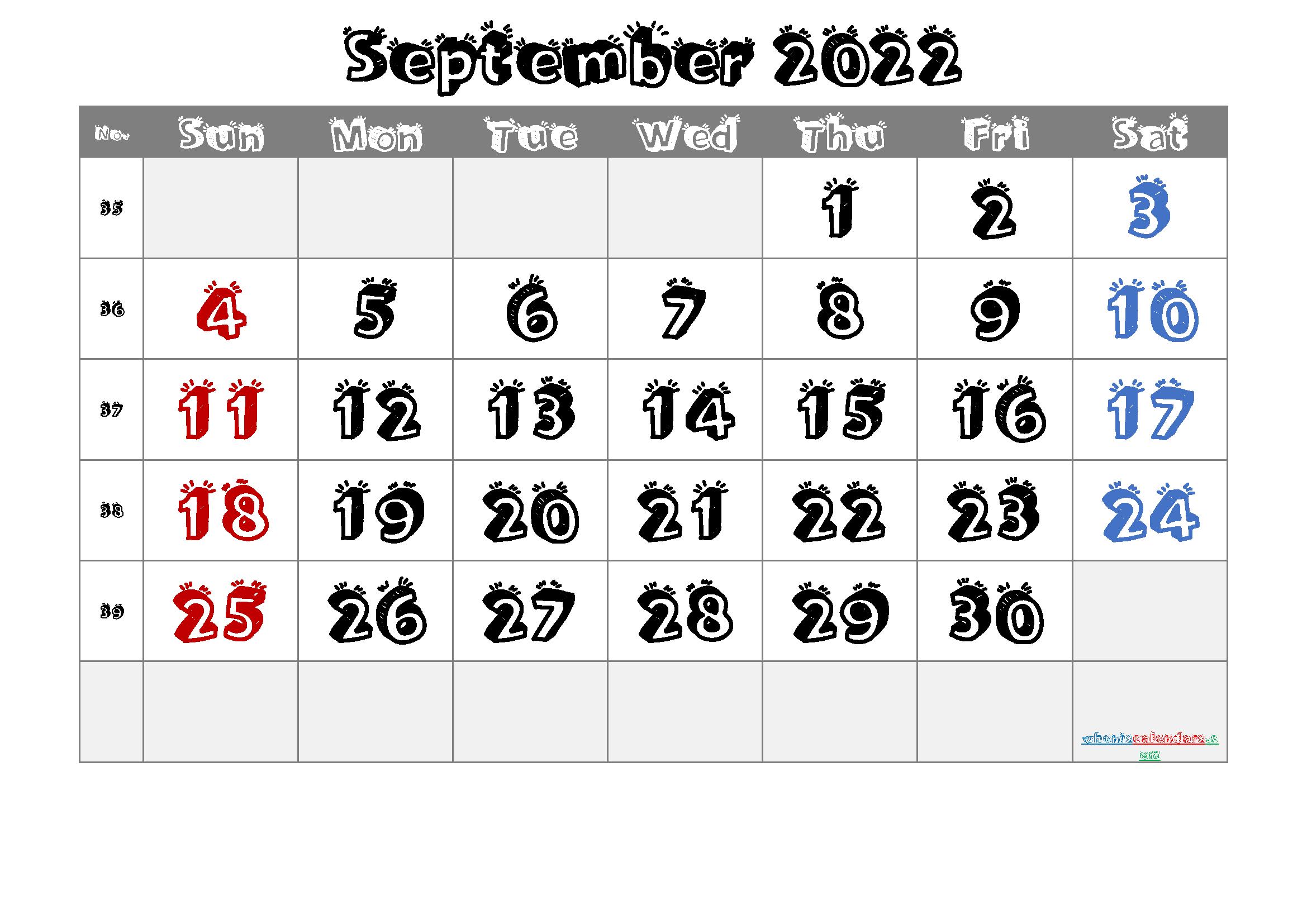 Free Printable September 2022 Calendar intended for Print Month Calendar September 2022