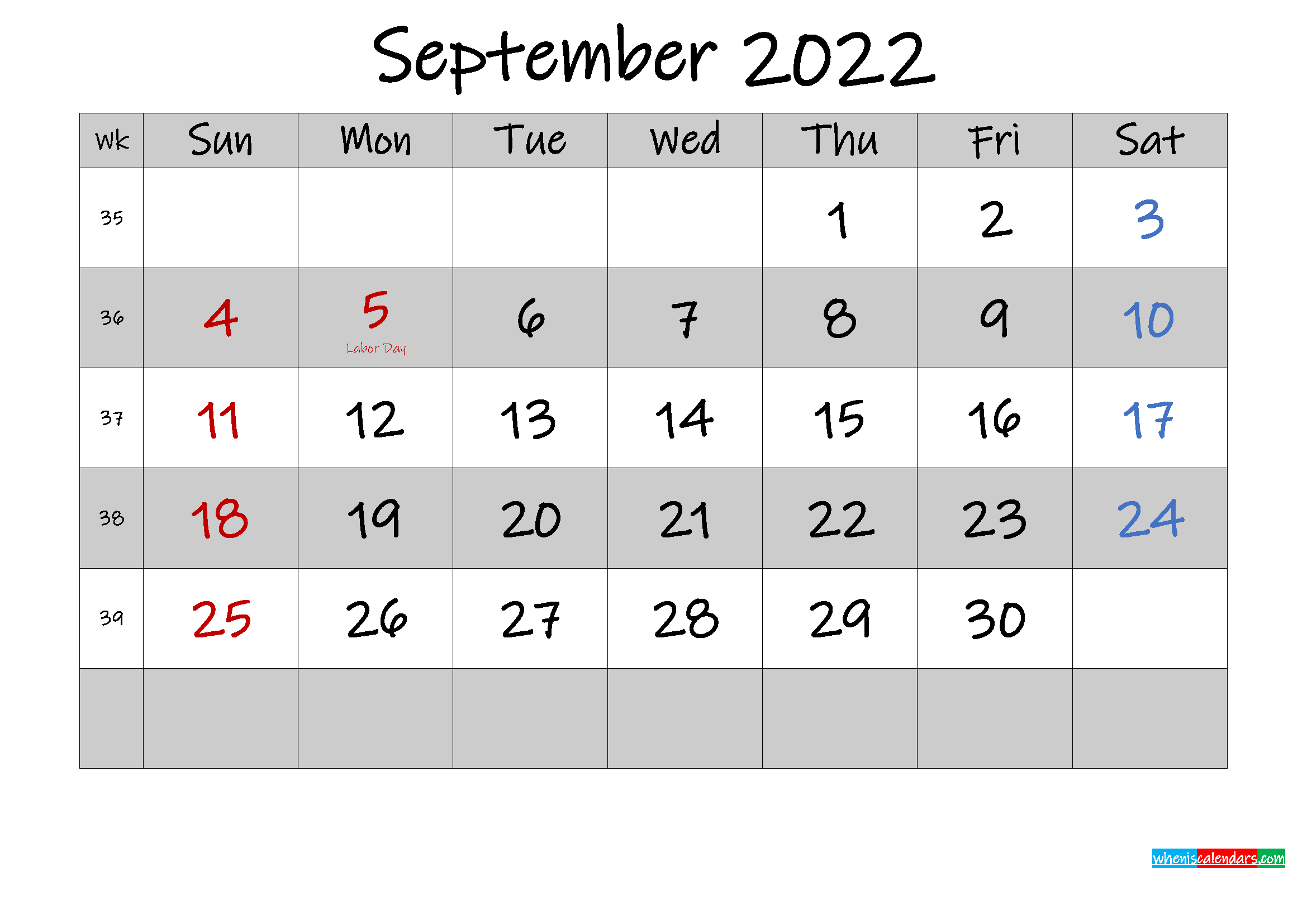 Free Printable September 2022 Calendar With Holidays within 2022 Weekly Planner Printable
