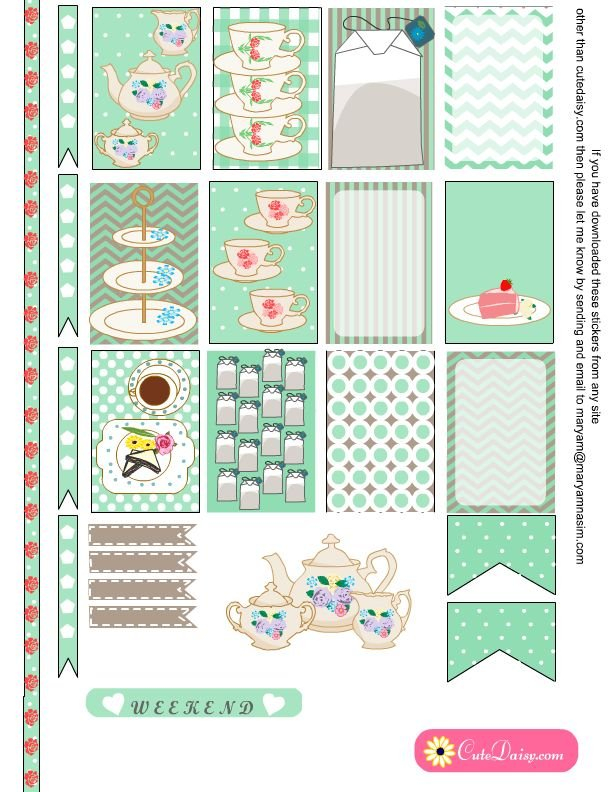 Free Printable Tea Themed Planner Stickers In Mint Color throughout Free Happy Planner Stickers Printable Graphics