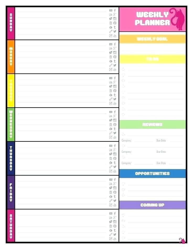 Free Printable Weekly Calendar Template : Plan Weekly intended for Planner Pages Template Free Photo