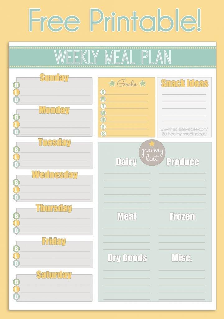 Free Printable Weekly Meal Planner + Calendar inside Free Meal Planner Printable
