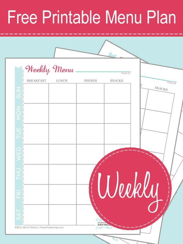 Free Printable Weekly Menu Planner for Weekly Planner Printable Free