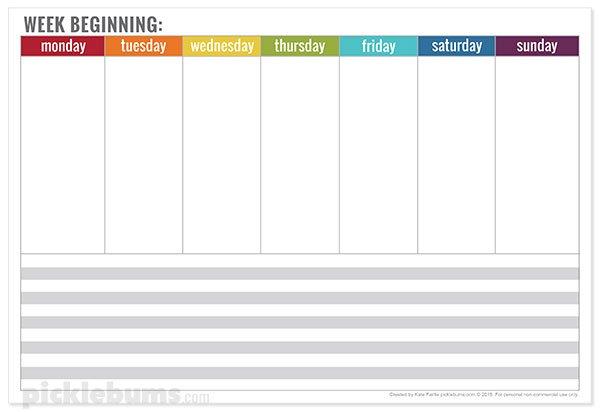 Free Printable Weekly Planner - Picklebums with Free Weekly Planner Printables Graphics