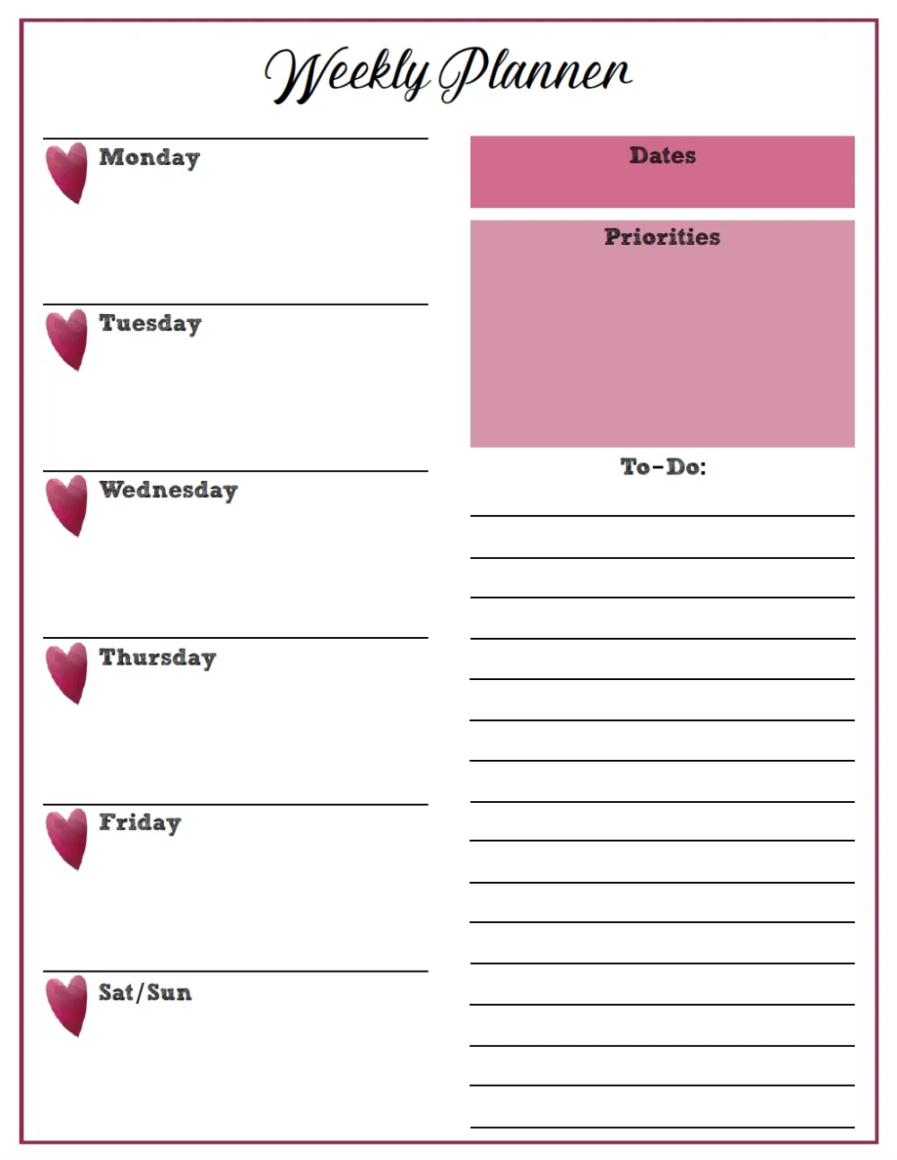 Free Printable Weekly Planners: Monday Start In 2020 throughout Weekly Planners That Start On Sunday