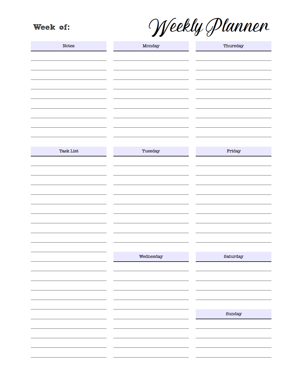 Free Printable Weekly Planners: Monday Start throughout Printable Calendar Daily Planner