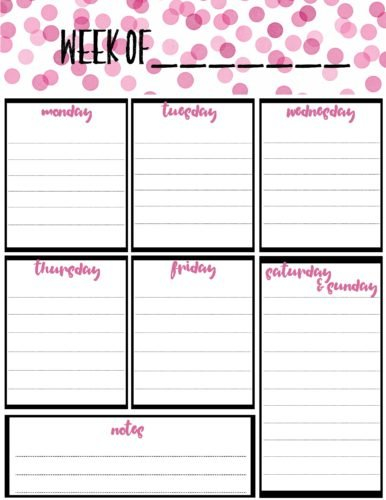 Free Weekly Calendar Planner Printable: Full And Half Size inside Free Printable Monthly Planners