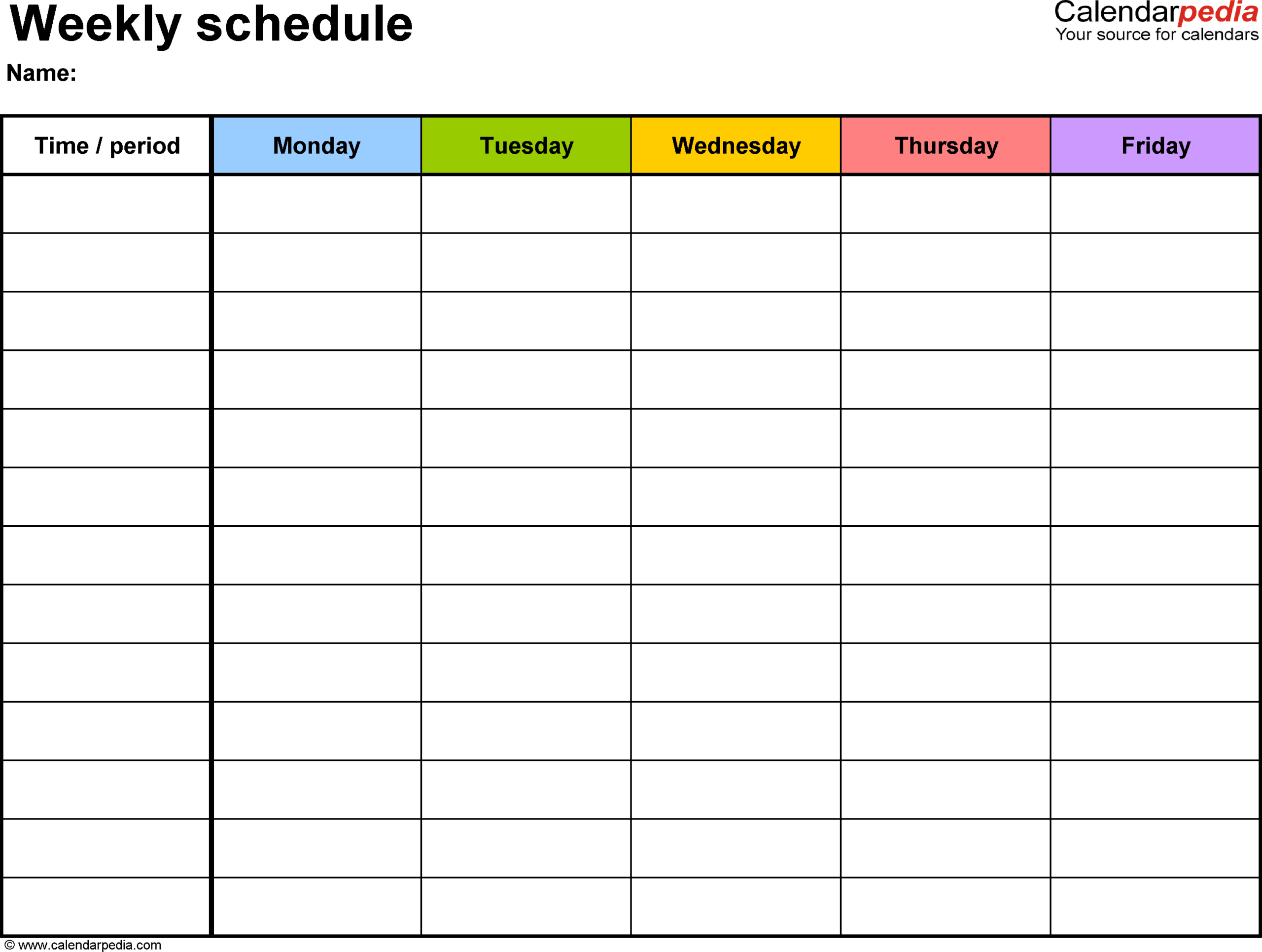 Free Weekly Schedule Templates For Word - 18 Templates in Blank Weekly Planner Template