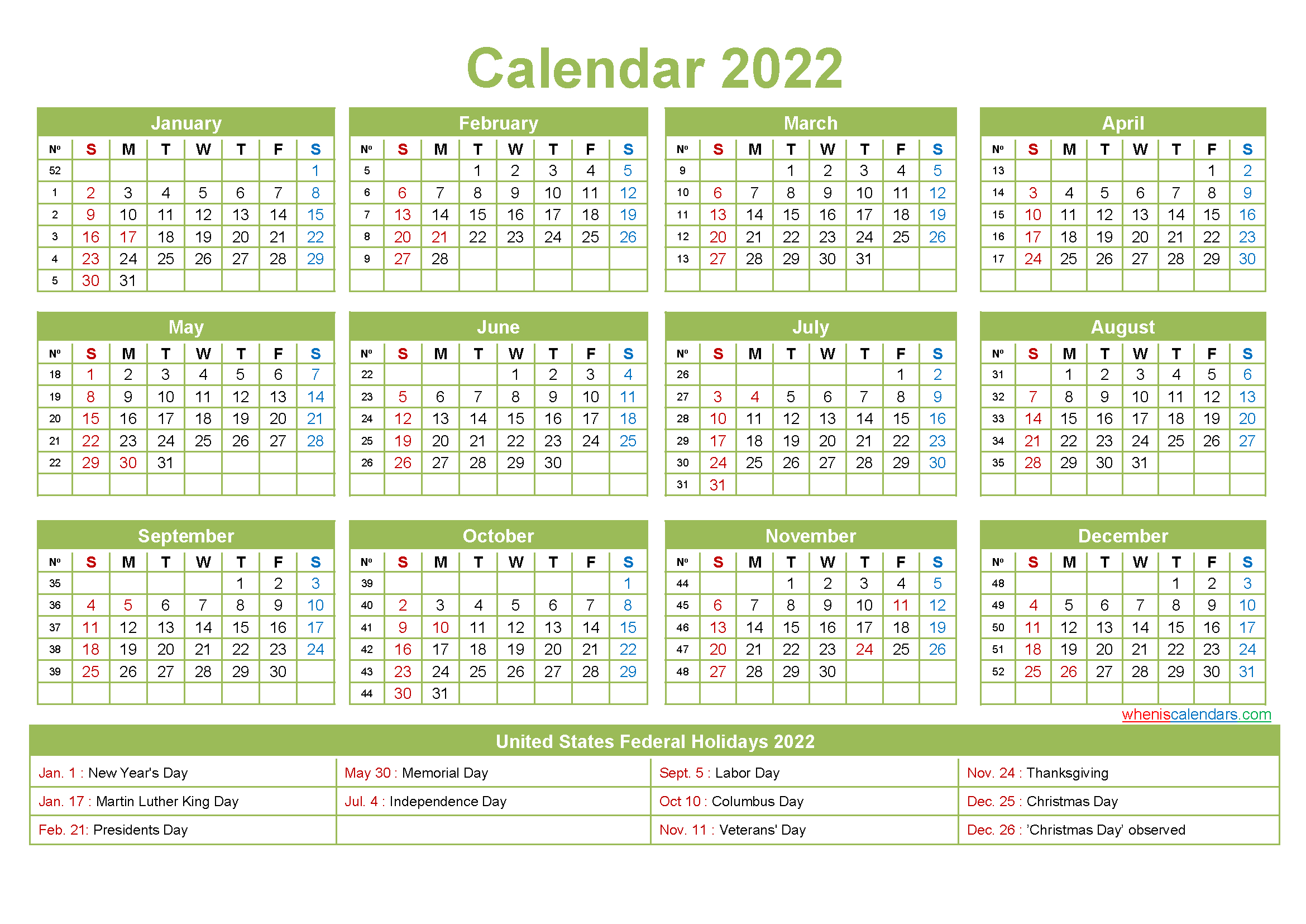 Free Yearly 2022 Calendar With Holidays Word, Pdf | Free pertaining to Free Printable Monthly Planner 2022 Photo