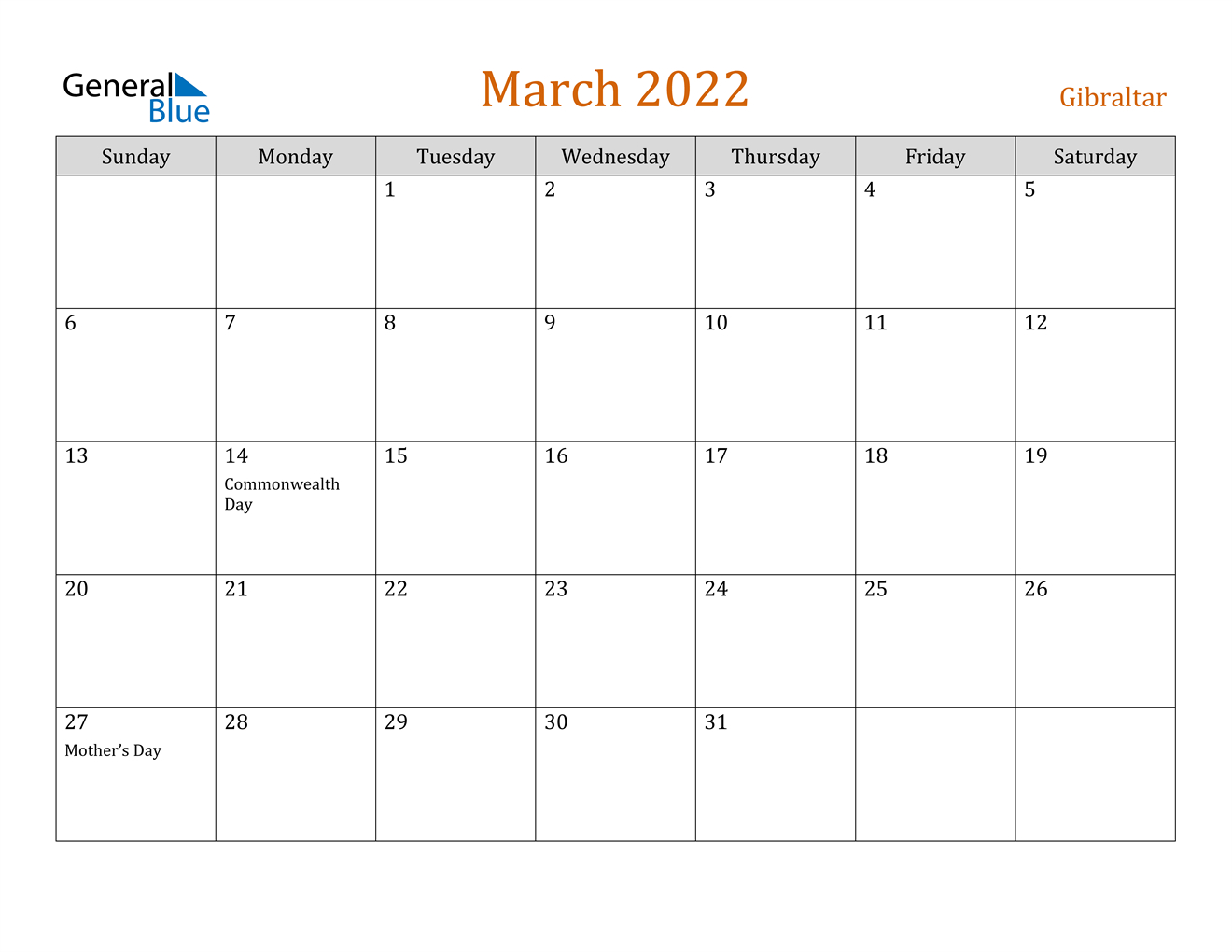 Gibraltar March 2022 Calendar With Holidays throughout 2022 March 2 Page Printable Calendar Image