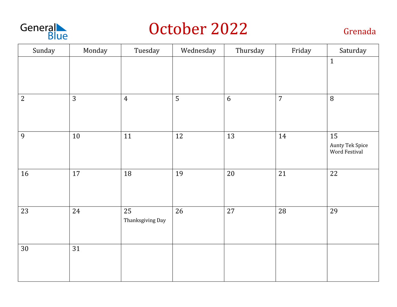 Grenada October 2022 Calendar With Holidays within October 2022 Planner Calendar