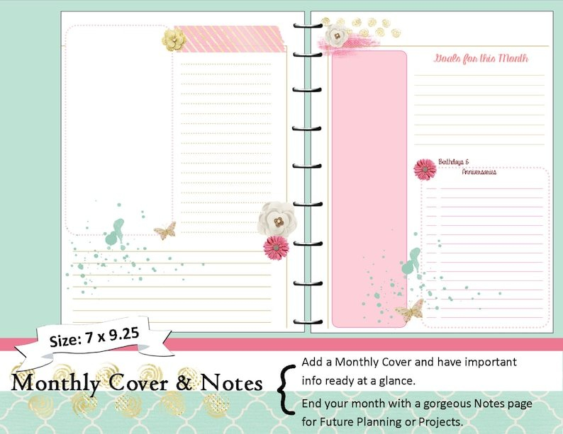 Happy Planner Printable Monthly Planner Refills / Inserts for Happy Planner Monthly Printable