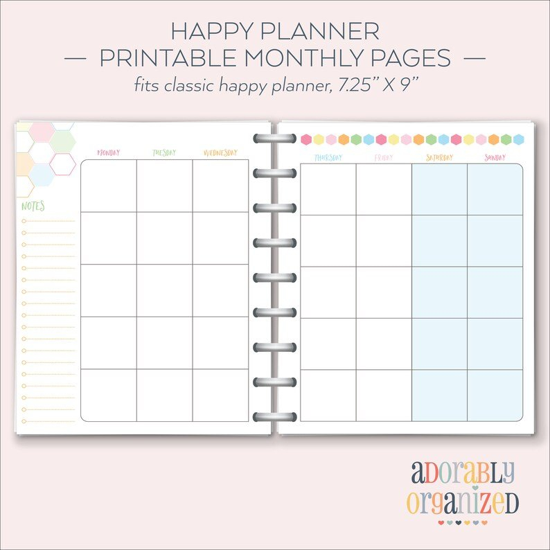 Happy Planner Printable Monthly Planner Refills / Inserts in Happy Planner Monthly Printable Image