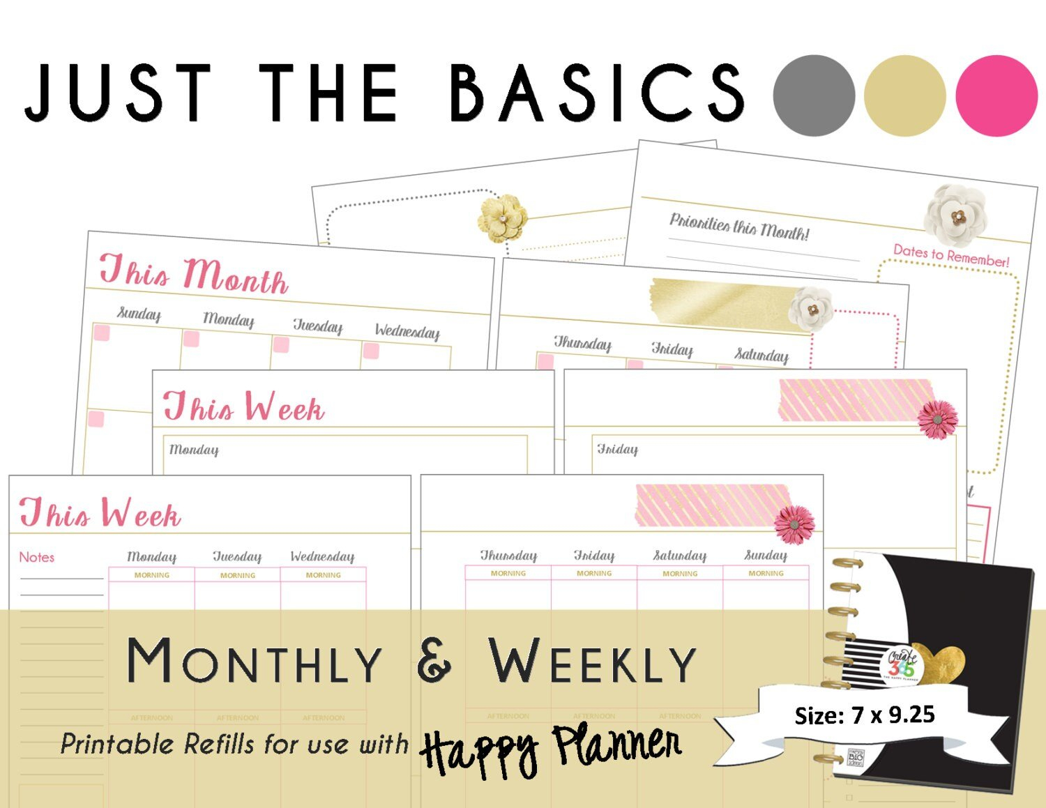 Happy Planner Printable Monthly / Weekly Planner Refills Pdf for Free Happy Planner Monthly Printable Photo