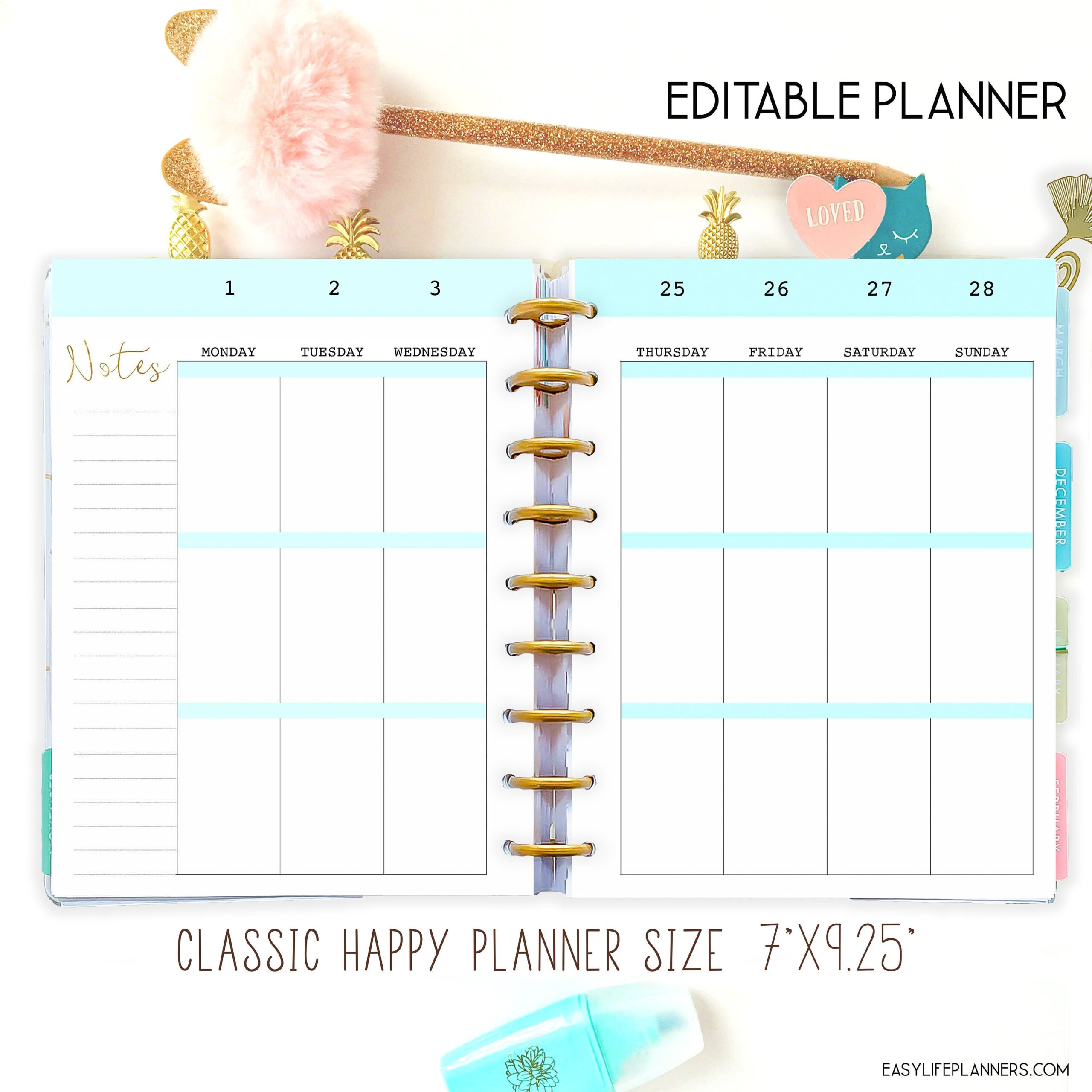 Happy Planner Template Weekly Planner Pages, Weekly Layout inside Happy Planner Monthly Printable
