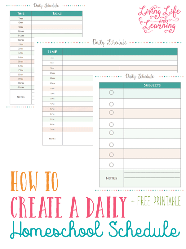 How To Create A Daily Homeschool Schedule | Homeschool inside How To Make A Printable Planner