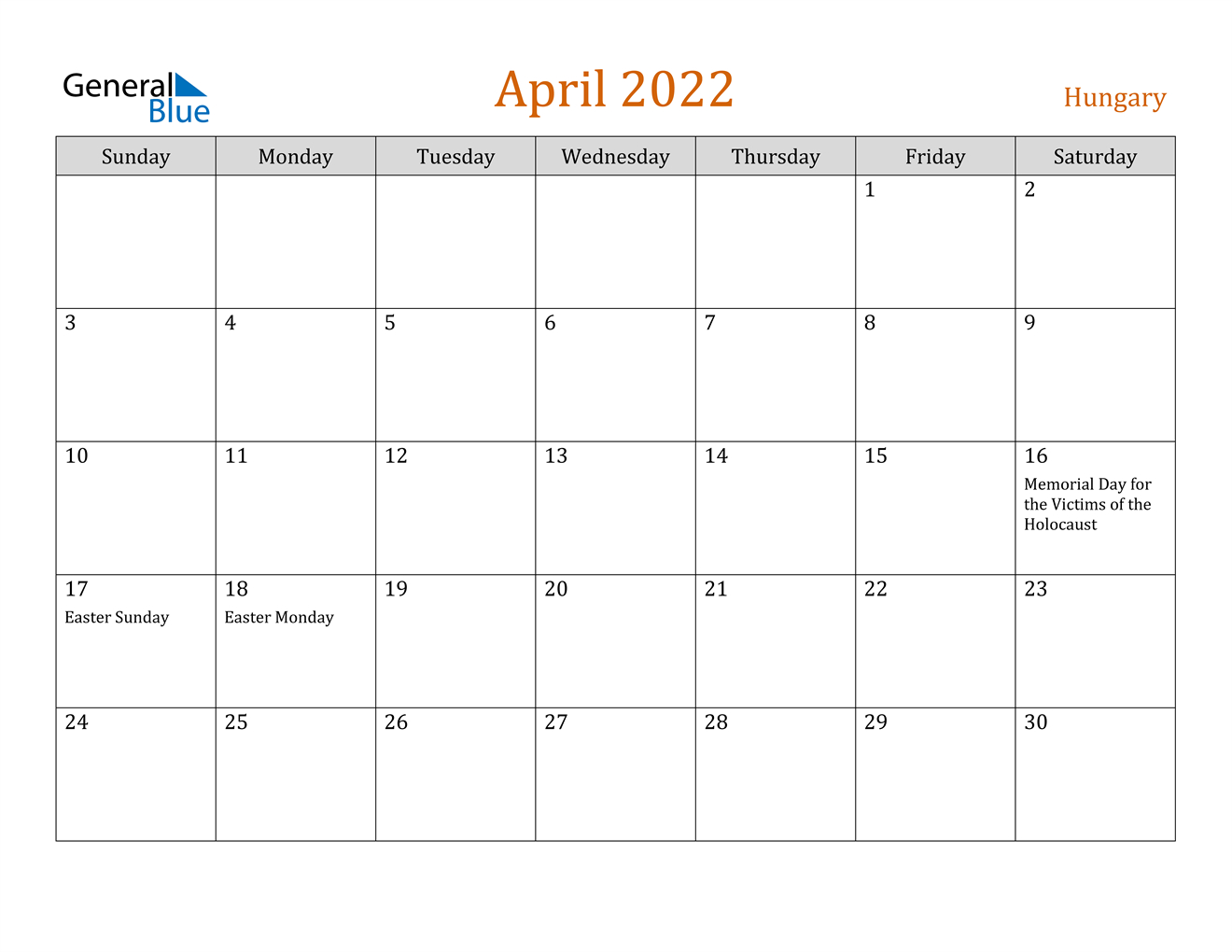 Hungary April 2022 Calendar With Holidays for April 2022 Calendar Printable