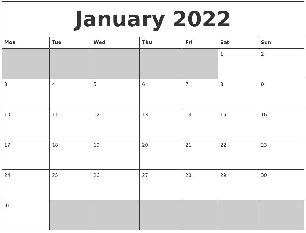 January 2022 Blank Printable Calendar within January 2022 Printable Calendar