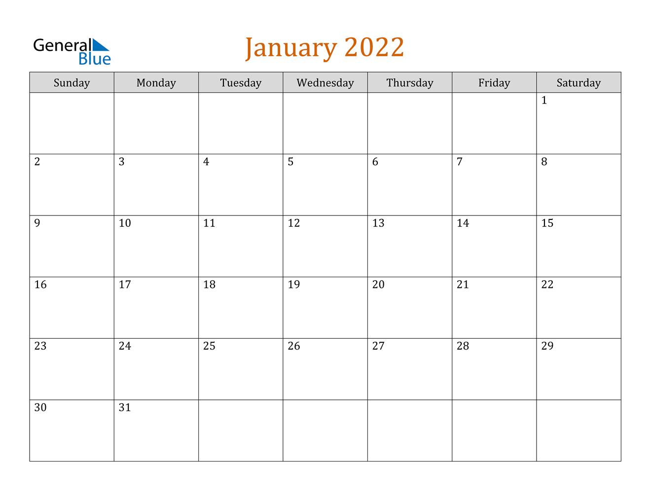 January 2022 Calendar (Pdf Word Excel) intended for Printable Calendar January 2022 Floral