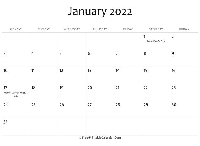January 2022 Calendar Printable With Holidays within Free Printable Printable Pdf January 2022 Calendar Photo