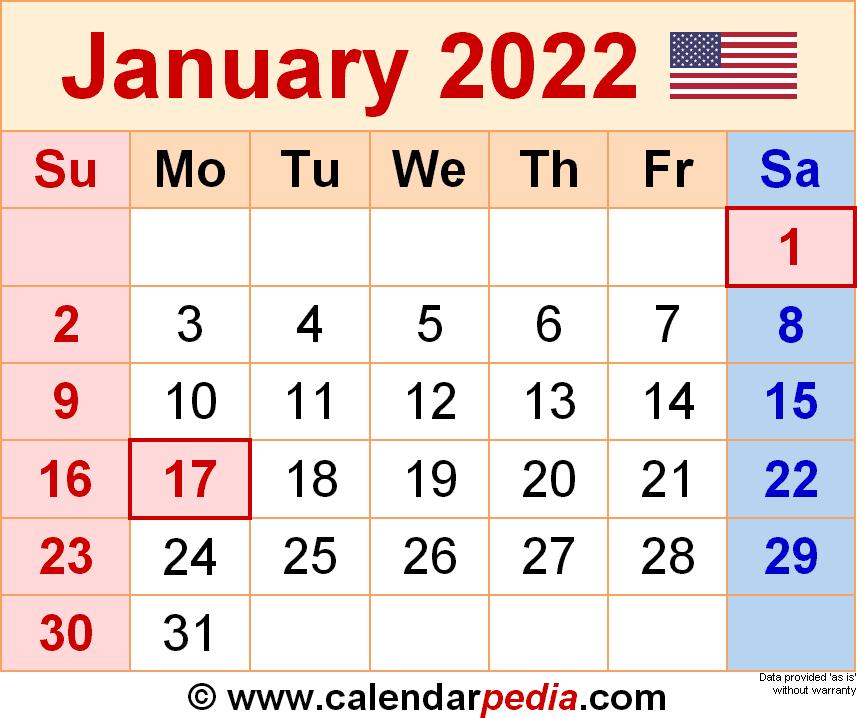 January 2022 Calendar   Templates For Word, Excel And Pdf regarding Free Printable January Calendar 2022