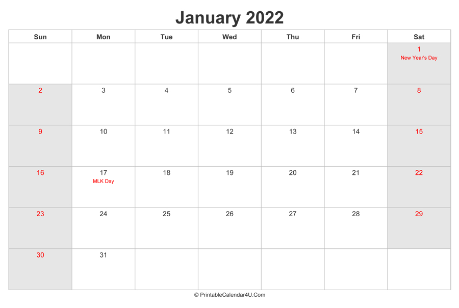 January 2022 Calendar With Us Holidays Highlighted inside January 2022 Free Month At A Glance Planner.pdf Photo