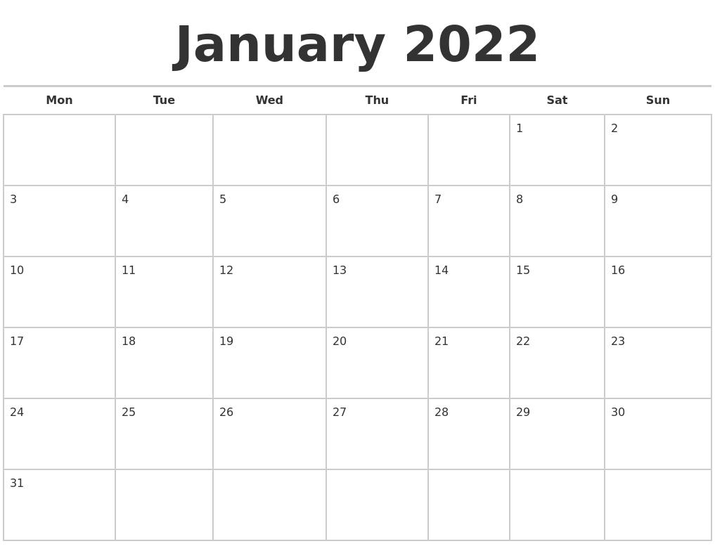 January 2022 Calendars Free for January 2022 Printable Calendar Photo