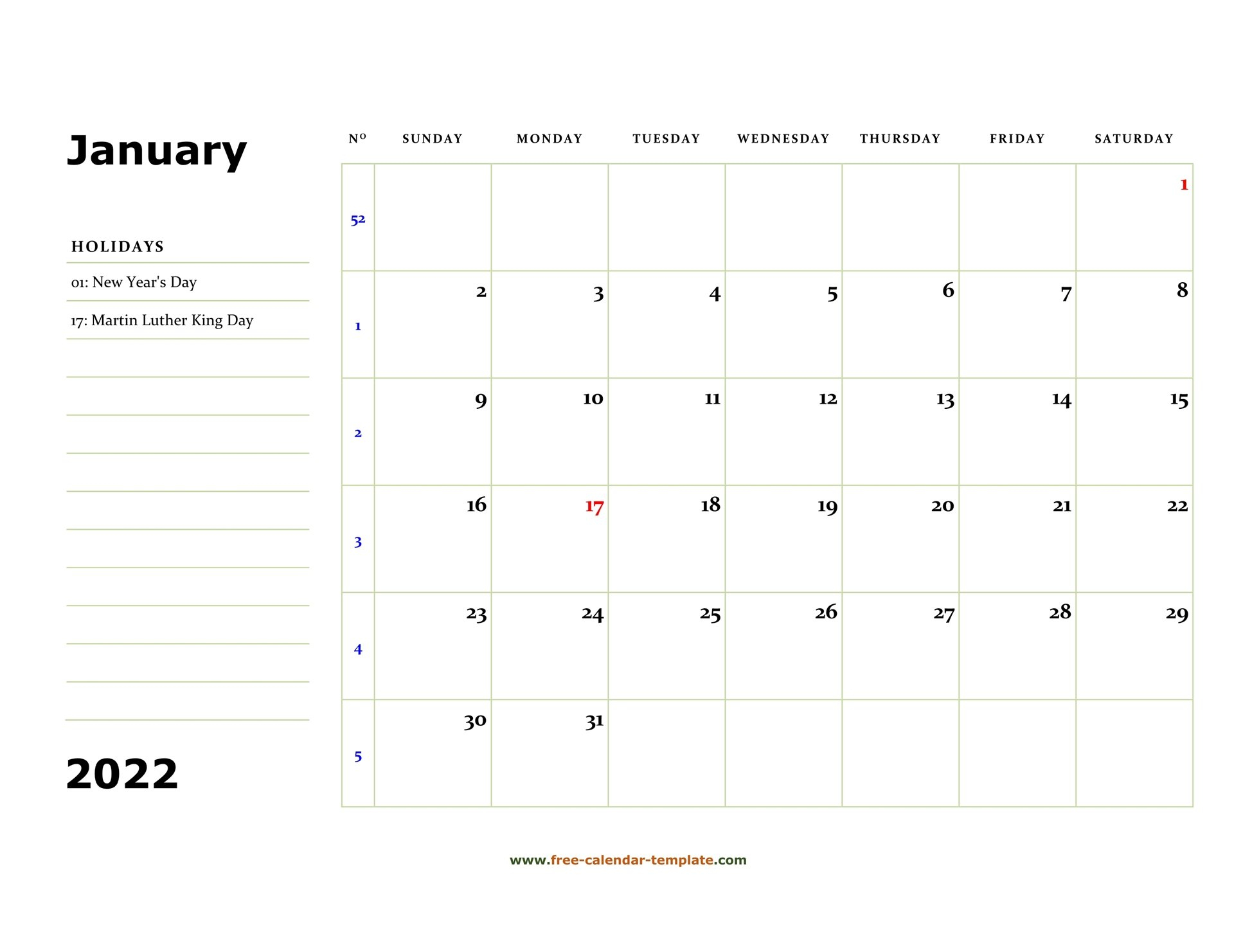 January 2022 Free Calendar Tempplate   Free-Calendar throughout January 2022 Free Month At A Glance Planner.pdf Photo