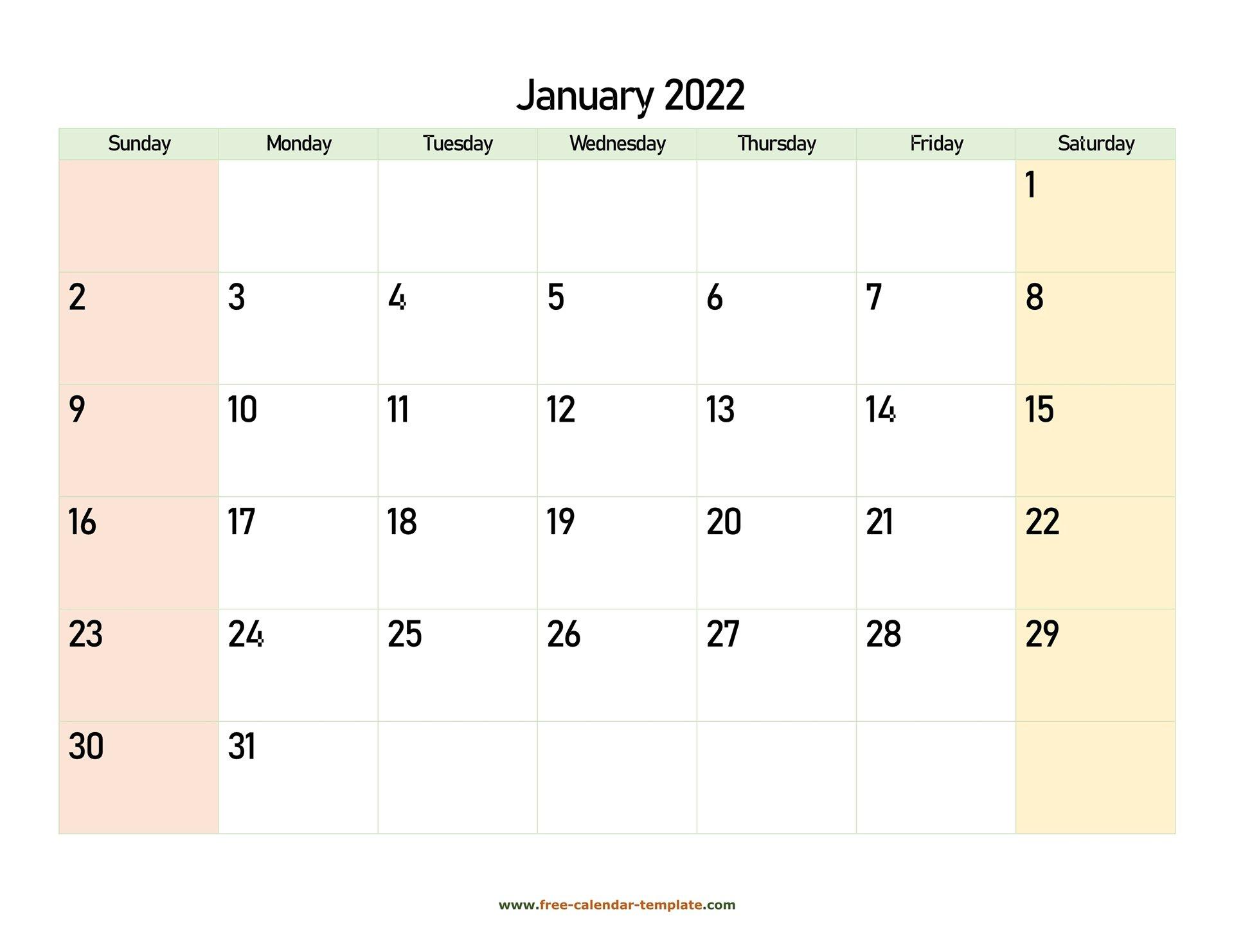 January 2022 Free Calendar Tempplate   Free-Calendar within Free Printable Printable Pdf January 2022 Calendar Photo