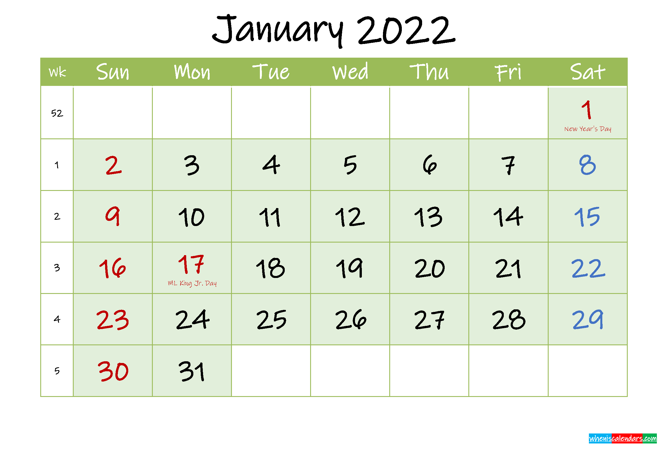 January 2022 Free Printable Calendar - Template Ink22M121 throughout January 2022 Calendar Printable Free Graphics