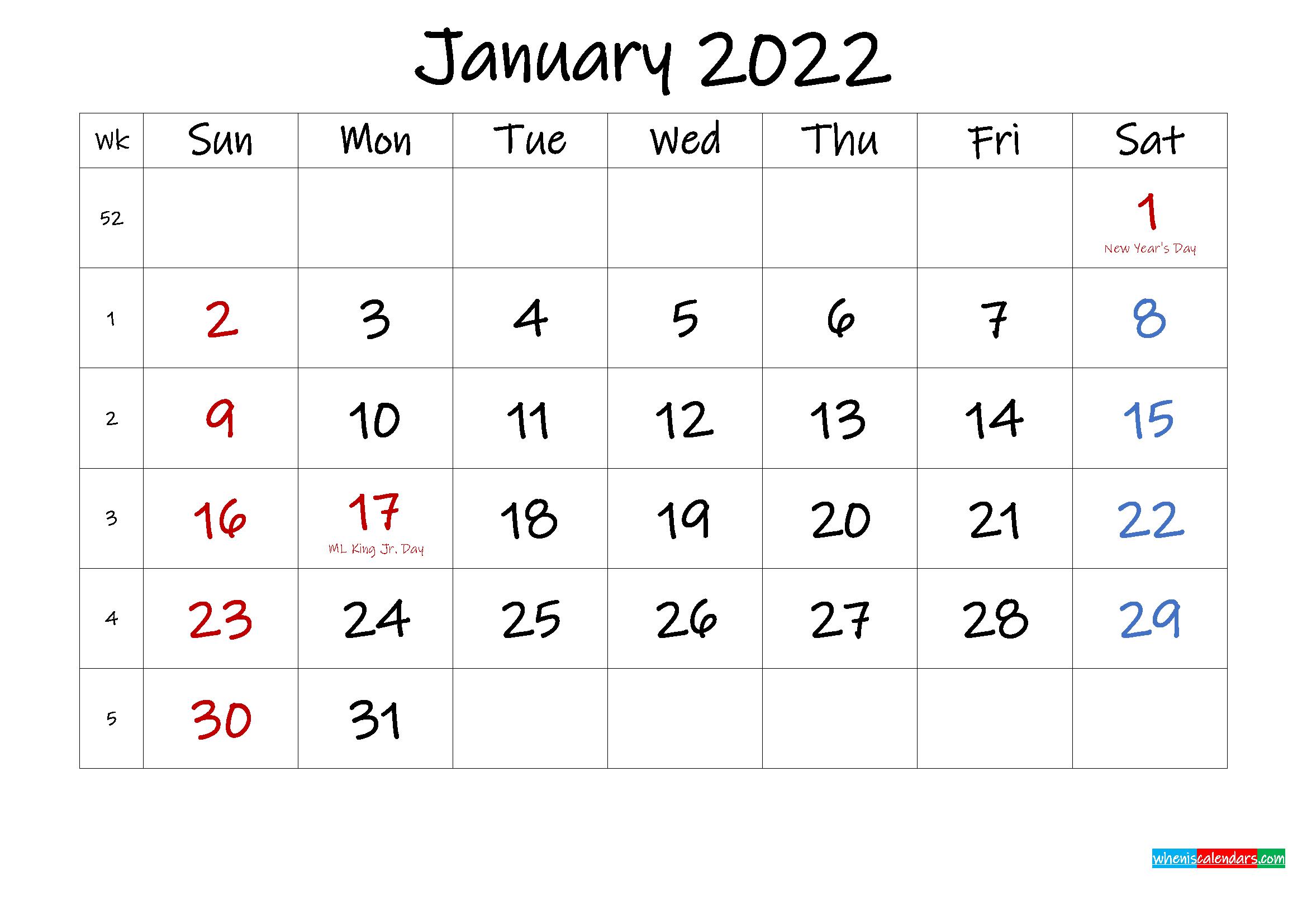 January 2022 Free Printable Calendar With Holidays intended for Free Printable Printable Pdf January 2022 Calendar Photo