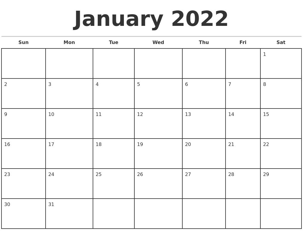 January 2022 Monthly Calendar Template regarding January 2022 Calendar Half Page Print