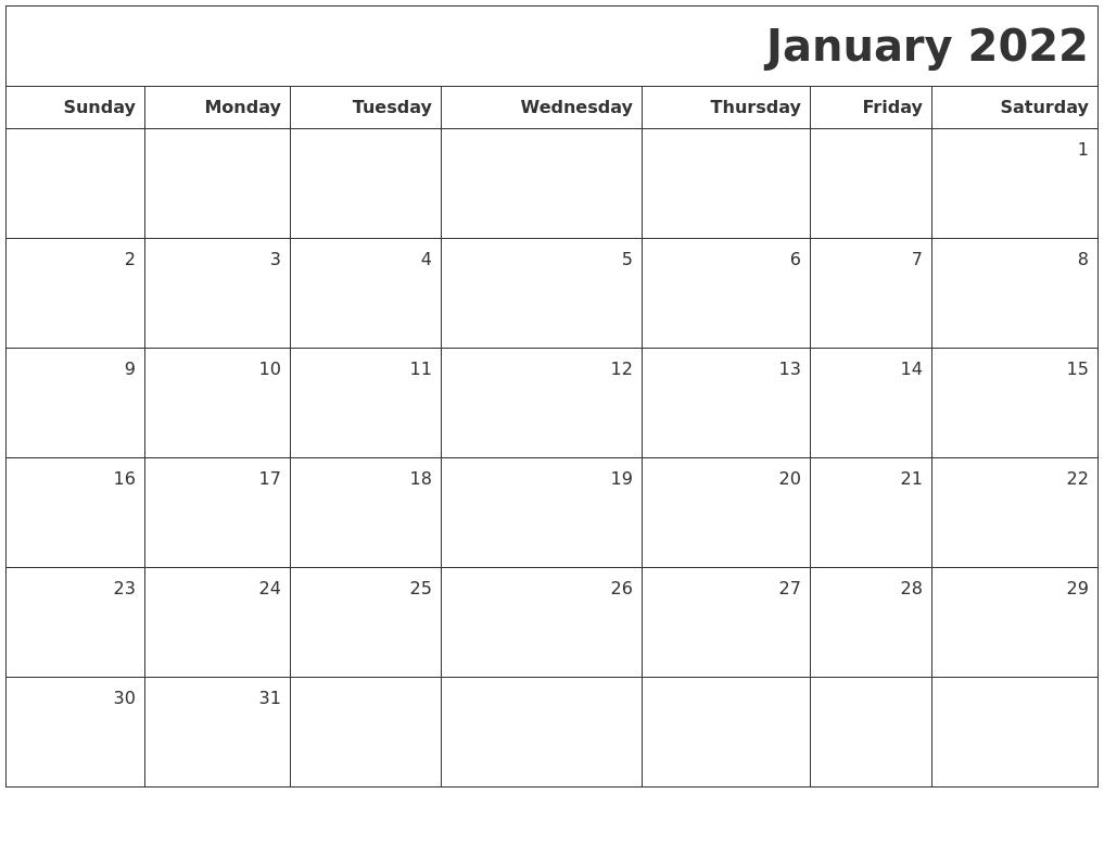 January 2022 Printable Blank Calendar pertaining to January 2022 Printable Calendar