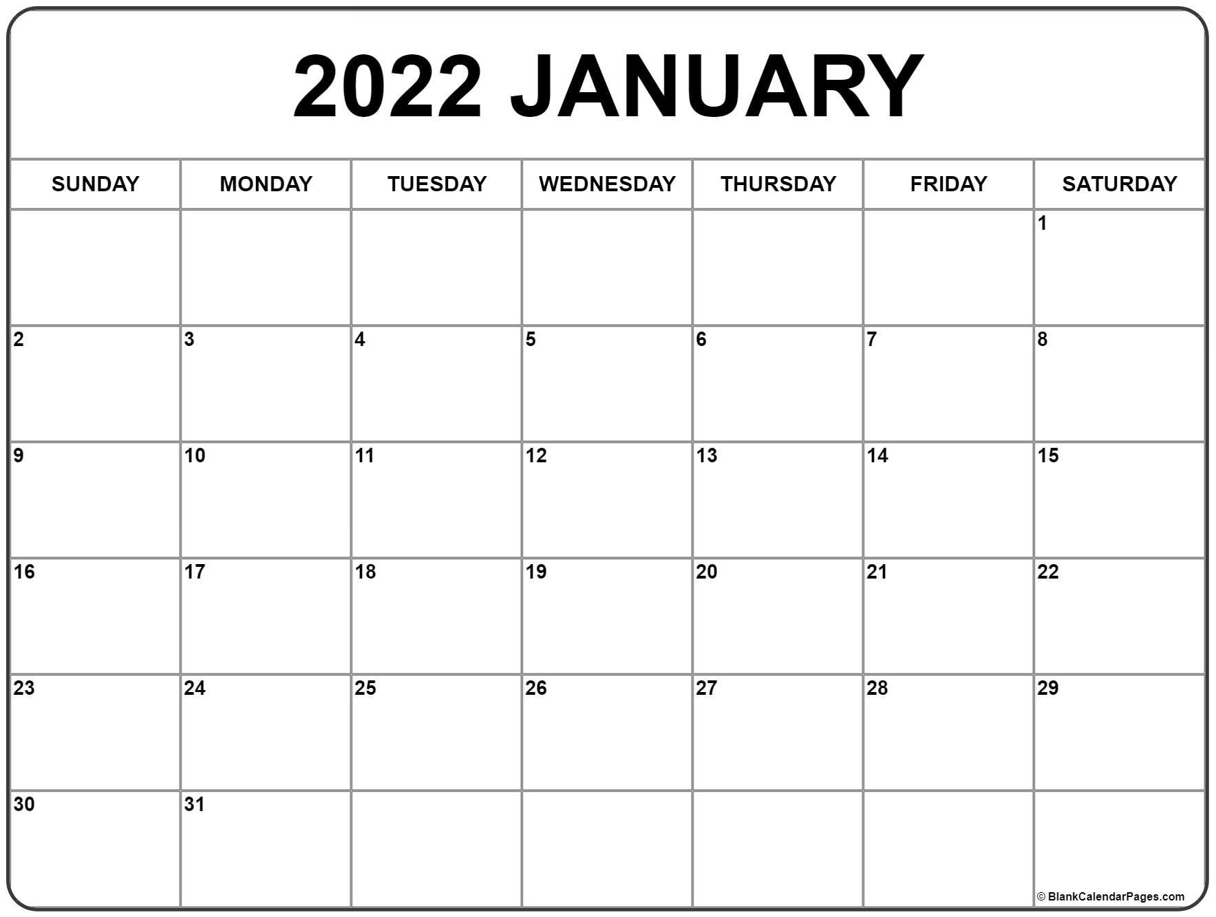 January 2022 Printable Calendar   Free Printable Calendar with Free Printable January Calendar 2022 Photo