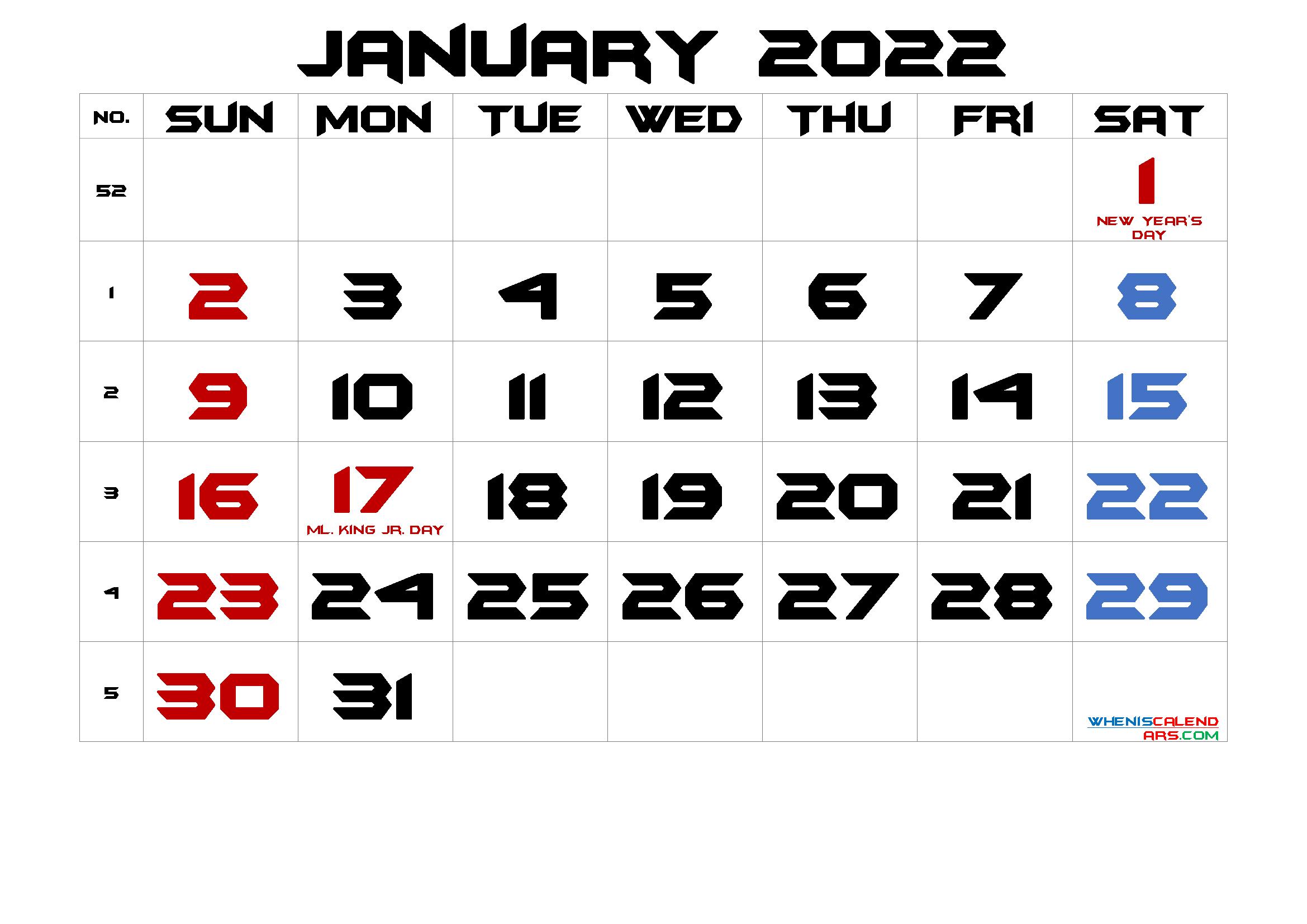 January 2022 Printable Calendar With Holidays pertaining to January 2022 Printable Calendar Photo
