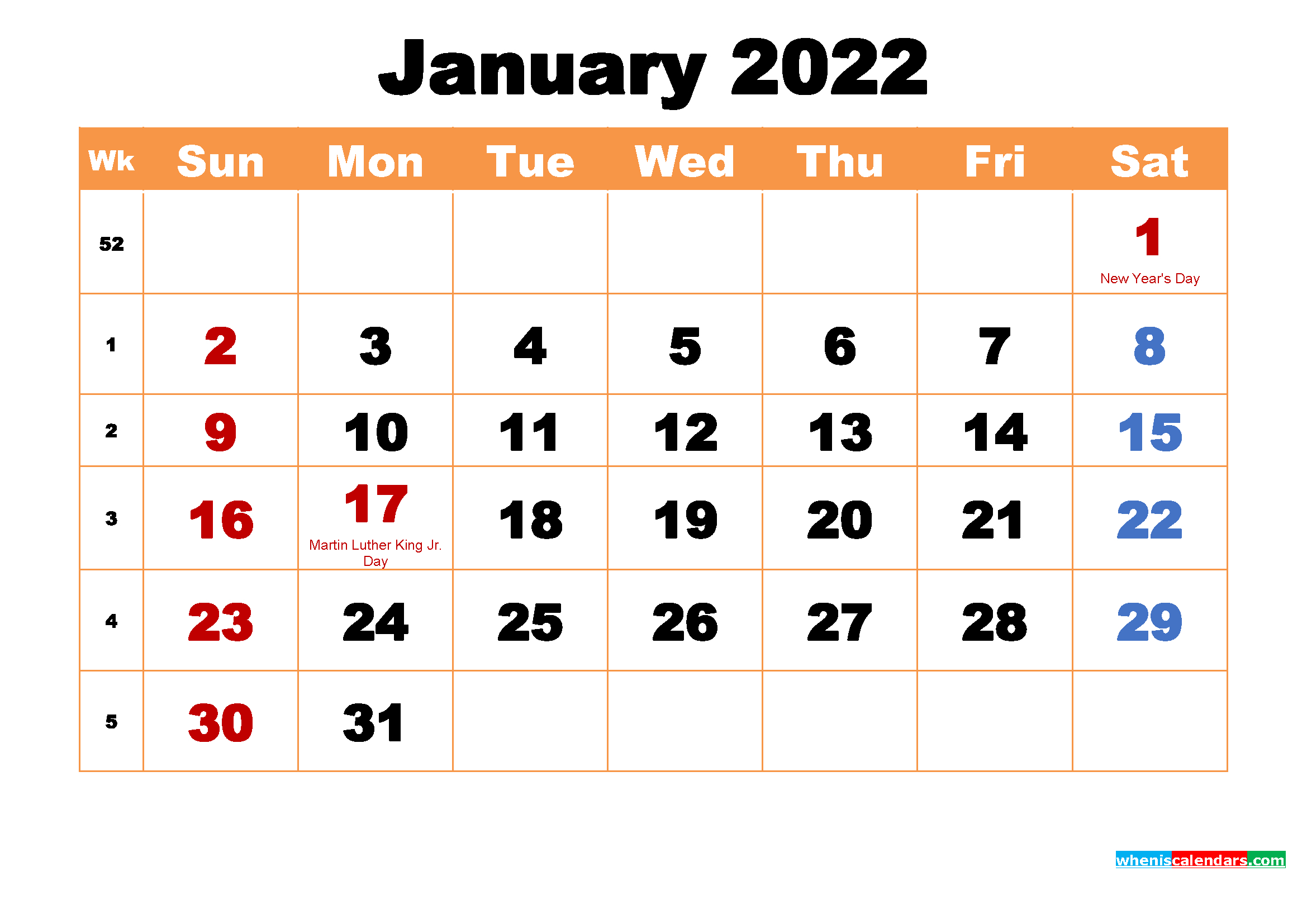 January 2022 Printable Monthly Calendar With Holidays inside Planner 2022 Printable Goal Image