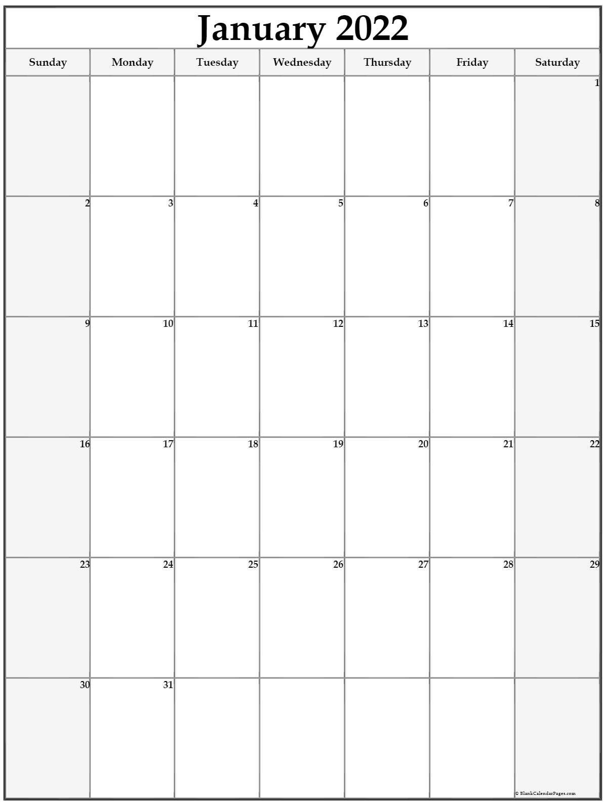January 2022 Vertical Calendar   Portrait in Free Printable Printable Pdf January 2022 Calendar Photo