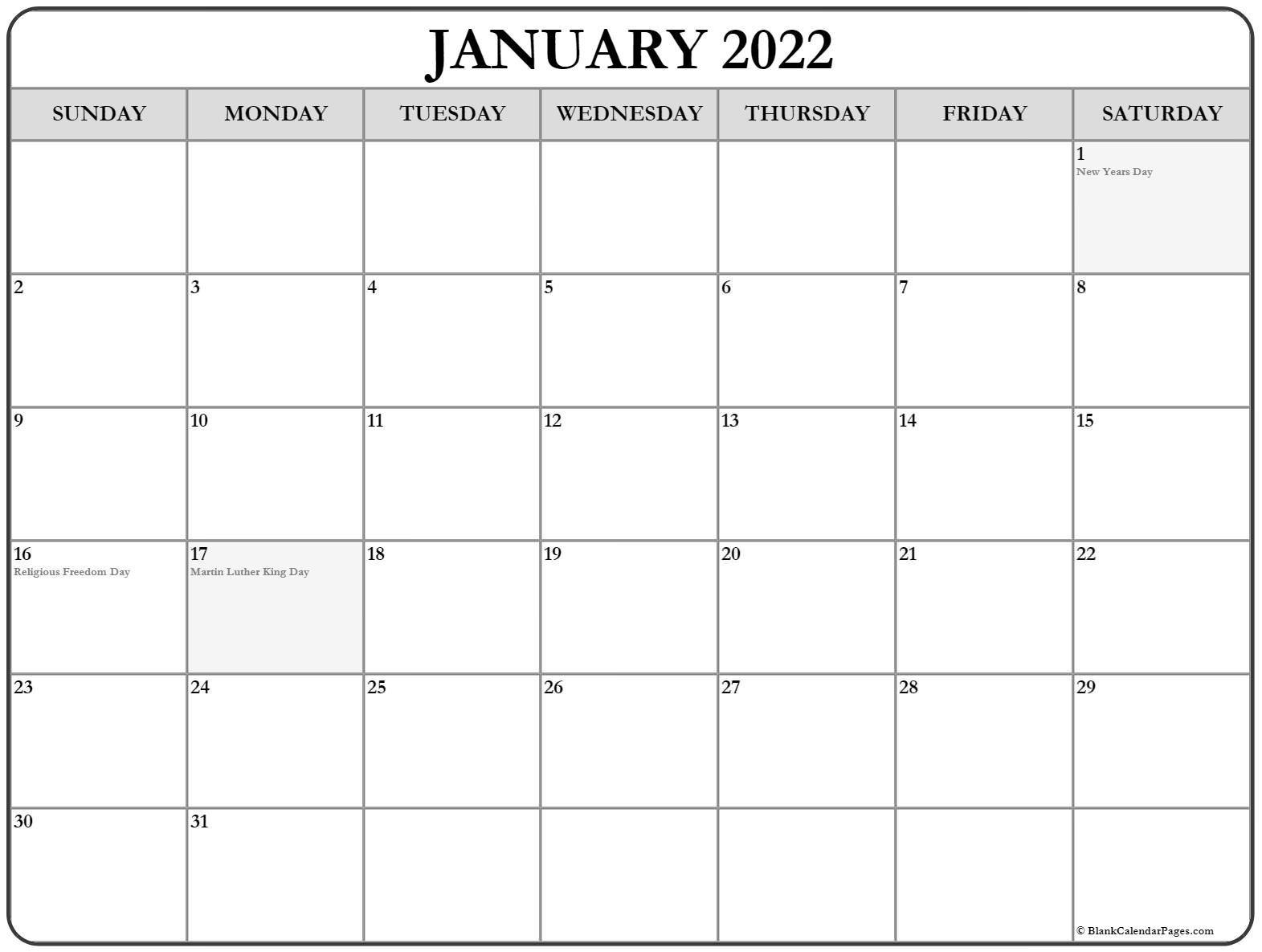 January 2022 With Holidays Calendar regarding Free Printable Printable Pdf January 2022 Calendar