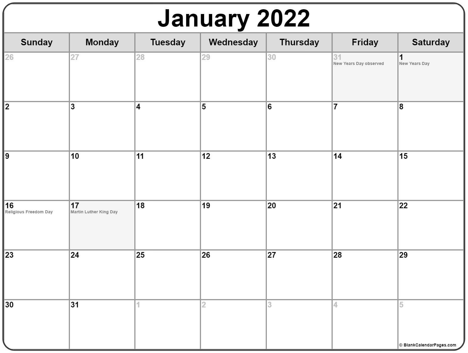 January 2022 With Holidays Calendar with regard to Printable Calendar January 2022 Floral Image