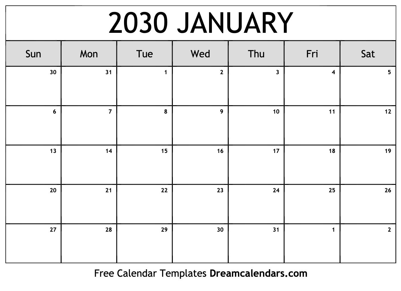 January 2030 Calendar   Free Blank Printable Templates with Free Printable Printable Pdf January 2022 Calendar Photo