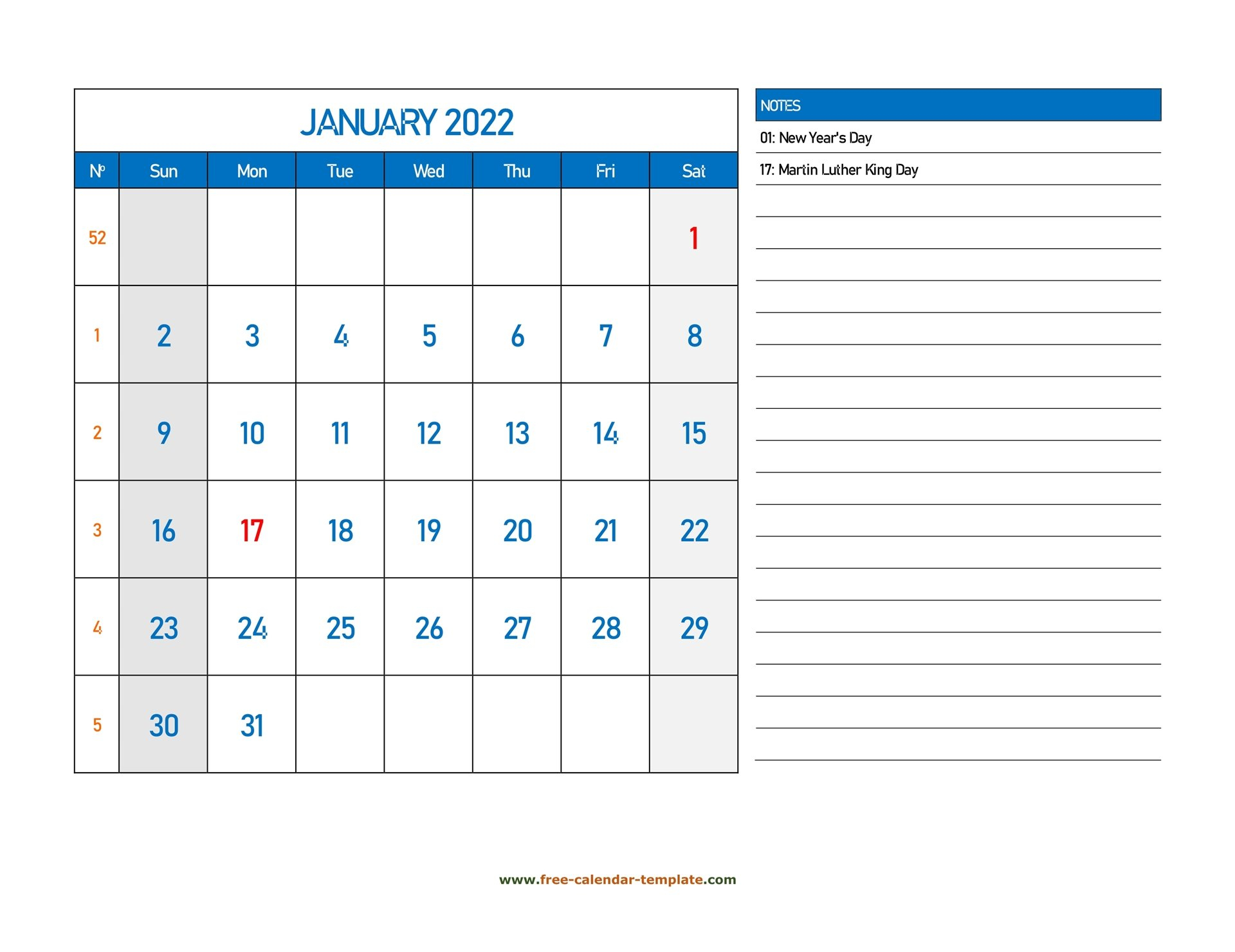 January Calendar 2022 Grid Lines For Holidays And Notes with Printable Calendar January 2022 Floral Image