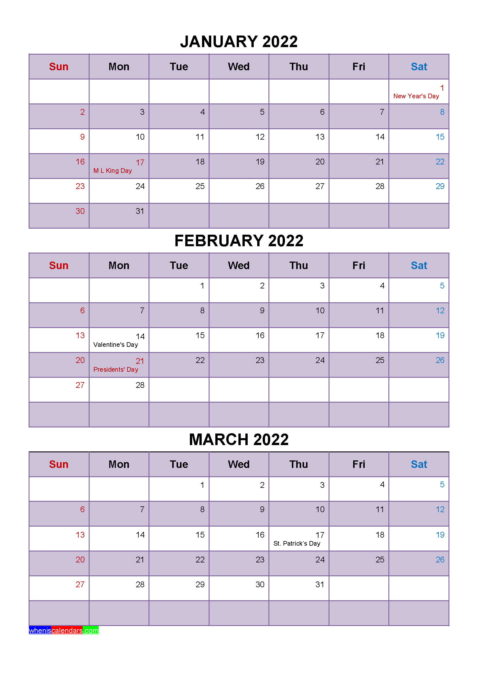 January February March 2022 Calendar With Holidays [Four intended for March & April 2022 Calendar Free Printable Image